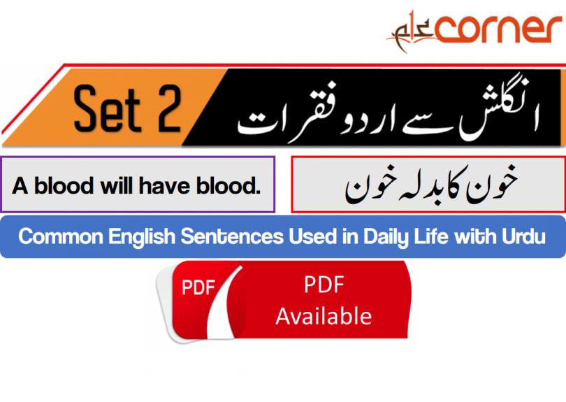 English to Urdu Sentences Spoken English Set 2, With PDF