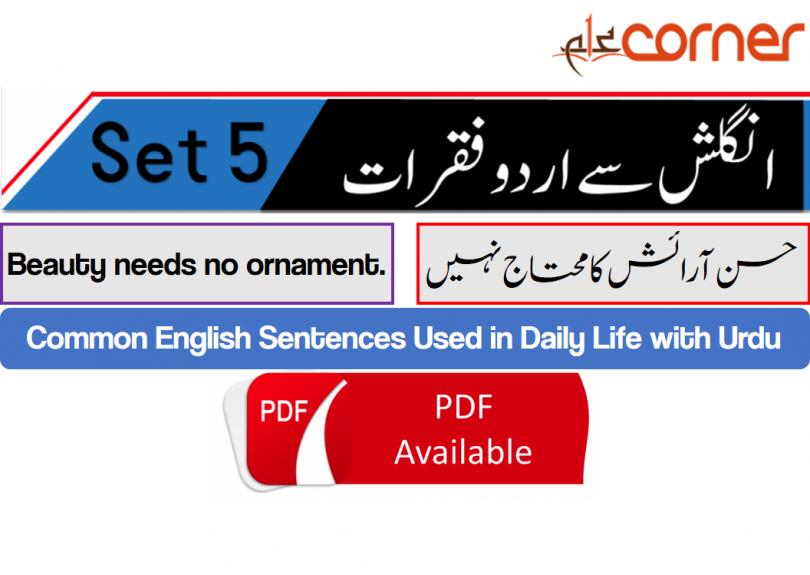 English to Urdu Sentences Spoken English Set 5, With PDF