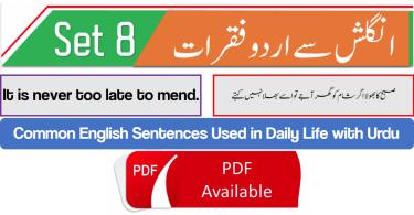 English to Urdu Sentences Spoken English Set 8, With PDF