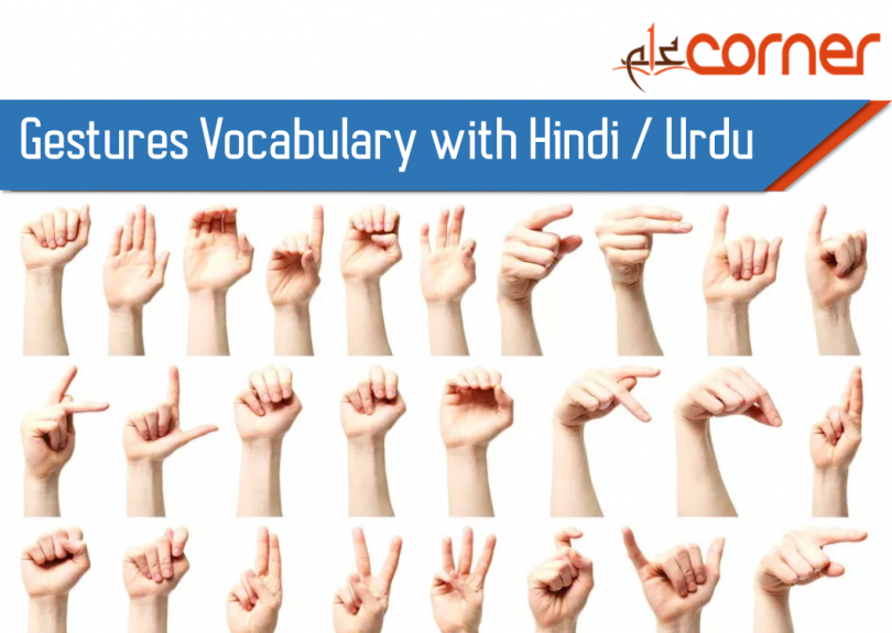 Gestures Vocabulary with meanings. English Vocabulary with Urdu and Hindi meanings. Important English Vocabulary related to gestures.