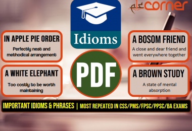 Important Idioms and Phrases, Set-1 | Most Repeated in CSS/PMS/FPSC/PPSC/BA Exams