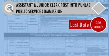 ASSISTANT & JUNIOR CLERK POST INTO PUNJAB PUBLIC SERVICE COMMISSION