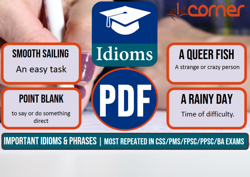 Important Idioms and Phrases, Set-5   Most Repeated in CSS/PMS/FPSC/PPSC/BA Exams