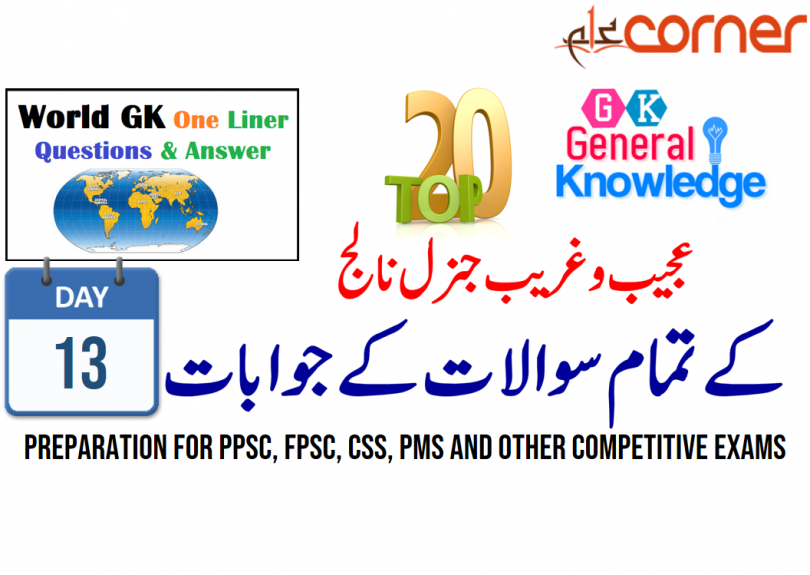 Top20 General Knowledge Solved MCQs for PPSC, FPSC, CSS, PMS