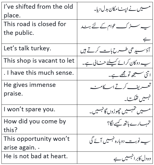 English to Urdu Sentences Spoken English 29