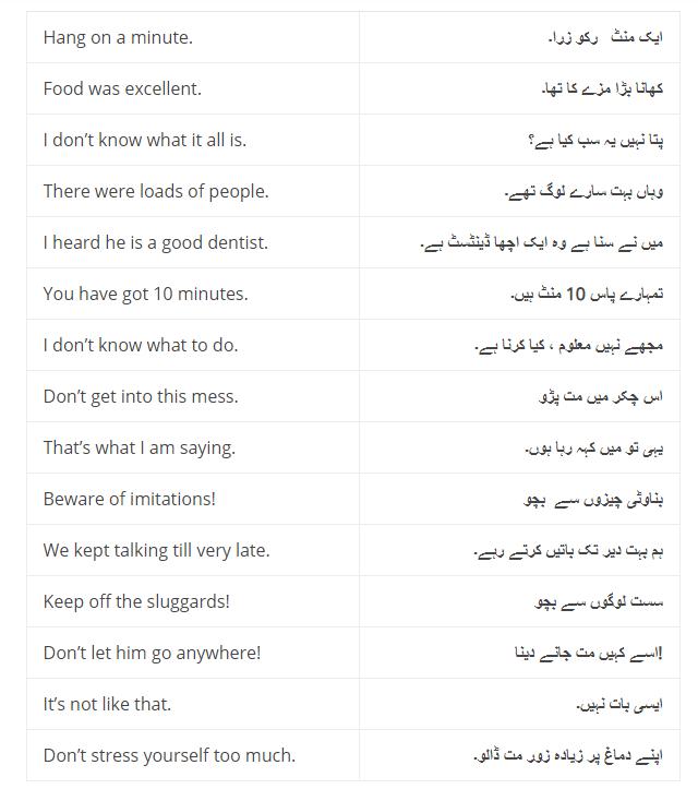 Daily Use English Sentences With Urdu Translation and PDF, Set-5