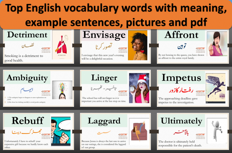 Top English vocabulary words with meaning, example sentences, pictures and pdf