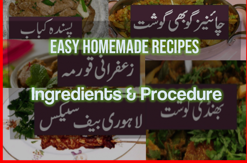 Easy homemade recipes in urdu Recipes ingredients and procedure